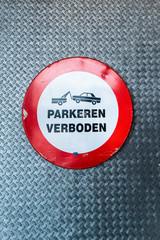 Dutch no parking sign