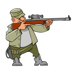 Cartoon hunter with a gun