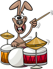 bunny playing drums cartoon illustration