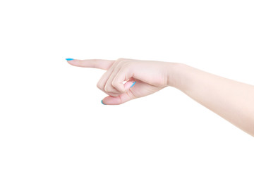 Woman hand pointing to the left isolated on white