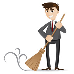 cartoon businessman cleaning with broom