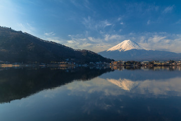 Mountain Fuji view from the lake in Japan.