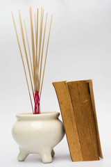 white joss stick pot