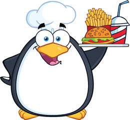 Chef Penguin Holding A Platter With French Fries And A Soda