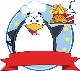 Penguin Holding A Platter With French Fries And A Soda