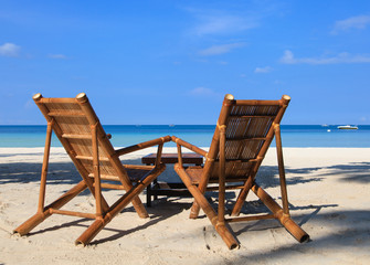 chairs of tropical sand beach in Boracay