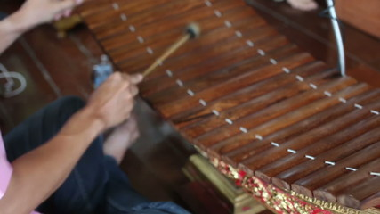 Music Playing of Bamboo Xylophone Mat (Ranat)