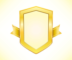 Golden shield with ribbon