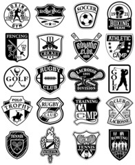 Vintage sports vector badges in black and white