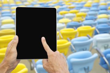 Hands Using Tablet Football Stadium