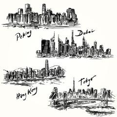 Tokyo, Peking, Hong Kong, Dubai
