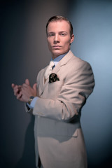 Retro 1920 business fashion man wearing white striped suit and t