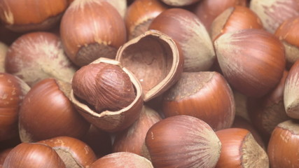 Turkish hazelnuts rotating