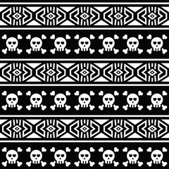 Tribal Aztec seamless pattern with skull on black