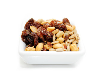 Nutty Trail Mix in a White Square Bowl