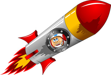 astronaut in a rocket