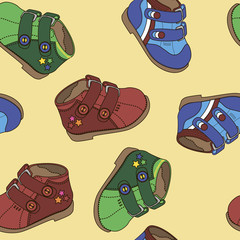 seamless pattern multicolored children's shoes