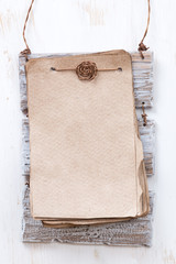 vintage paper for text on a white wooden background