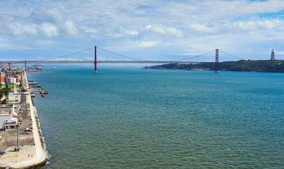 waterfront and the 25th of April Bridge, Lisbon, Portugal
