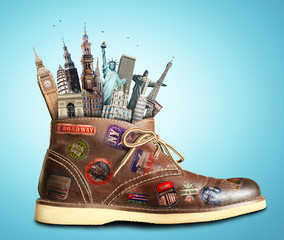 Travel, shoes with travel stickers and landmarks