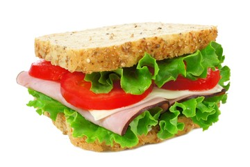 Isolated ham, lettuce and tomato sandwich