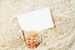 canvas print picture - Seashells with blank card