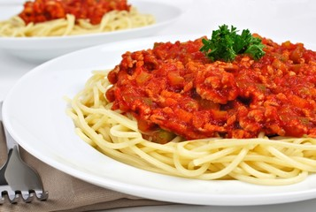 Plate of spaghetti with tomato and meat sauce