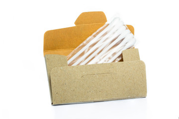 cardboard paper box with cotton buds