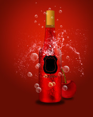 Bottle of sparkling red wine and cherry