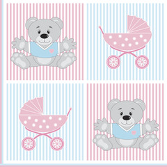 prams and teddy bears seamless pattern