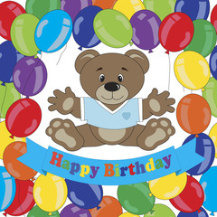 Happy Birthday card. Teddy bear and balloons.