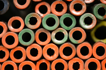 Steel pipes arranged.