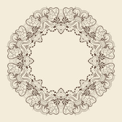 Round ornamental frame. Vector illustration