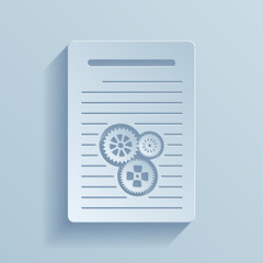 Paper icon of document with gears.