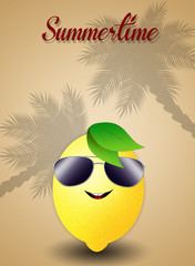 Funny lemon with sunglasses for summertime