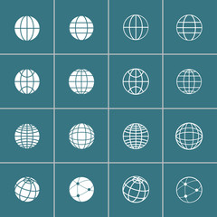 globe icon set, vector eps10