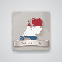 Icon of Netherlands map with flag. Vector illustration