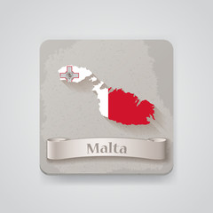 Icon of Malta map with flag. Vector illustration