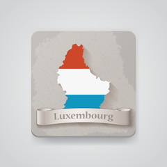 Icon of Luxembourg map with flag. Vector illustration