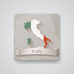 Icon of Italy map with flag. Vector illustration