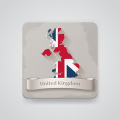 Icon of United Kingdom map with flag. Vector illustration