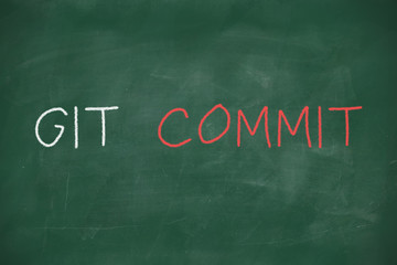 Git commit handwritten on blackboard