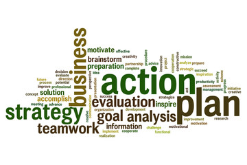 Action plan word cloud