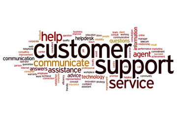 Customer support word cloud
