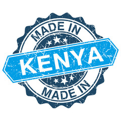 made in Kenya vintage stamp isolated on white background