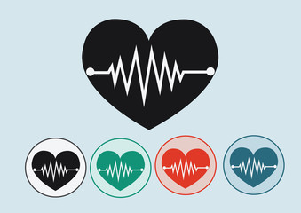 Heart wave icons