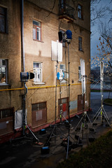 Professional lighting equipment - floodlights, reflecting screen