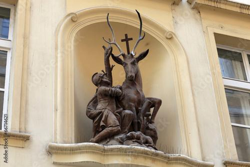Foto op Canvas Praag Sculpture of saint Hubert with a deer