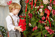 Little boy stands near decorated Christmas tree