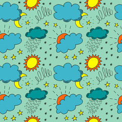weather hand drawn color seamless